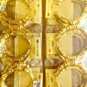 VINTAGE BAMBOO HOOP earrings 4 inch Gold 12 pk